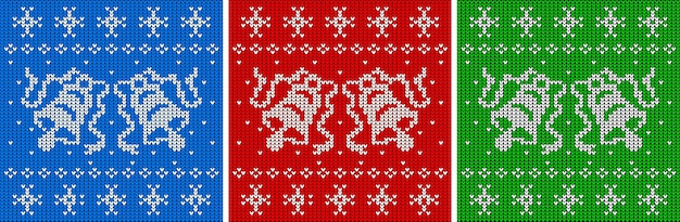 Knitted texture sweater with two bells seamless pattern set christmas jumper background vector