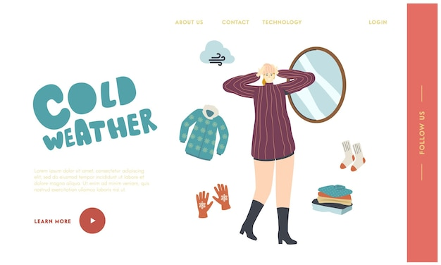 Knitted things for cold weather landing page template. female character in warm dressing try on knitted hat front of mirror for walking outdoor. fashioned garment, apparel. linear vector illustration