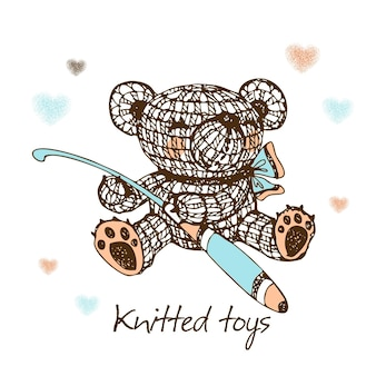 Knitted toys, a bear with a crochet hook. vector