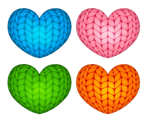 Knitted vector stuffed hearts blue pink green orange