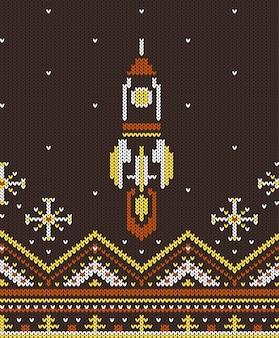 Knitted vintage flying up rocket