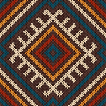 Knitted wool pattern in tribal aztec style. seamless