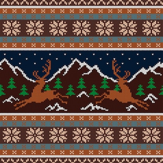 Knitted wool tapestry with deers and snow-capped mountains