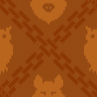 Knitted woolen pattern with intersection of chains, owl and wild boar