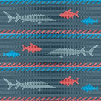 Knitted woolen seamless pattern with commercial fish