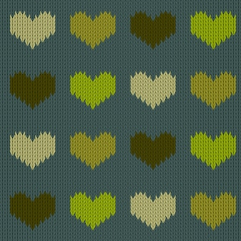 Knitted woolen seamless pattern with hearts