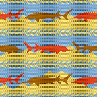Knitted woolen seamless pattern with sturgeons