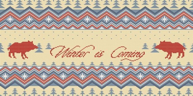 Knitted woolen seamless pattern