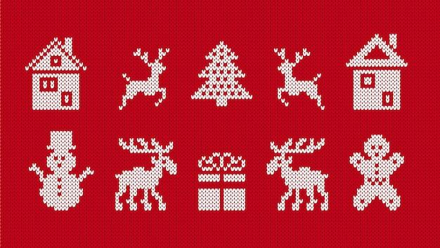 Вязаные рождественские элементы. рождественские уродливые бесшовные печати. векторная иллюстрация.
