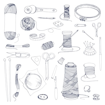 編み物や縫製のアクセサリー。