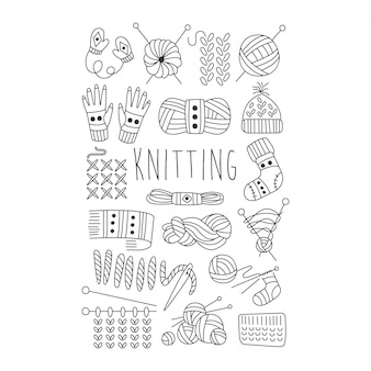 Knitting. black and white  hand drawn set.