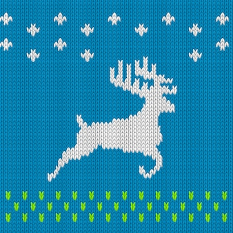 Knitting blue background with deer