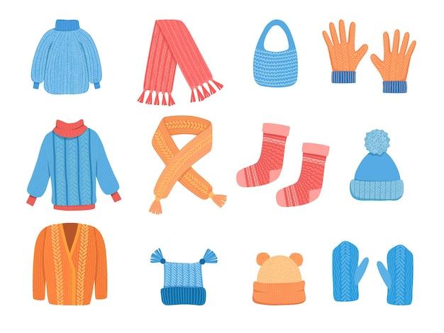 Вязание одежды. зимний кубок кардиган куртка шарф шерстяное пальто вектор цветной стильной одежды вектор коллекции. иллюстрация зимние варежки, сезонные аксессуары для одежды