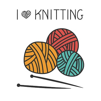 Knitting composition from balls of wool in the style of doodle for a yarn shop or tailor