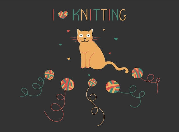 Knitting composition with a cat and a ball of woolen yarn in a doodle style