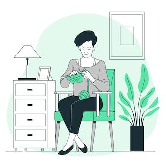 編み物のコンセプトイラスト