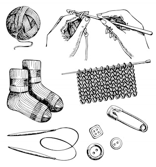 Knitting and crochet set hand drawn