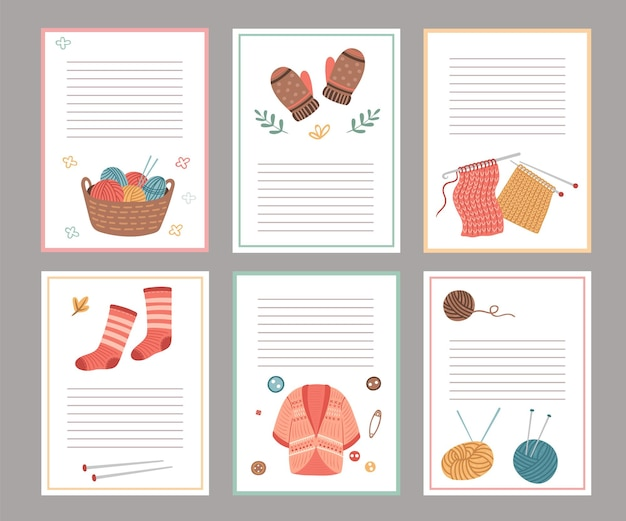 Knitting elements cards. blank paper notes template, cozy cardigan, socks mittens. autumn winter scandinavian style notebook sheets vector set. illustration handmade socks and sweater, yarn and thread
