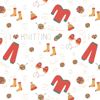 Knitting hand line seamless pattern in doodle style for a yarn shop or tailor vector