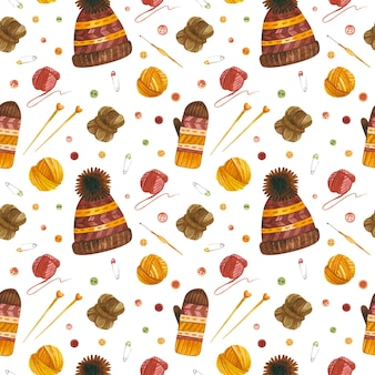 Knitting hats and gloves watercolor seamless pattern crochet  digital paper
