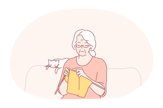Knitting, hobbies of elderly people concept.