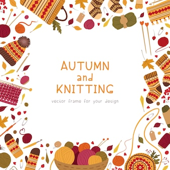 Knitting hobby, flat social media banner template.