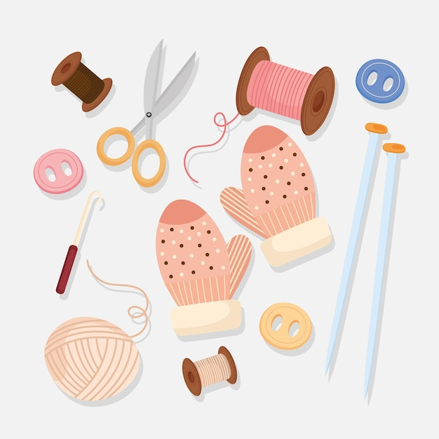 Knitting icons with needles