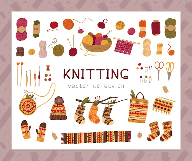 Knitting and knitwear kit. traditional autumn, winter hobby tools, scissors, yarn balls. warm handmade clothing. female accessories, bags with ethnic, folk decor