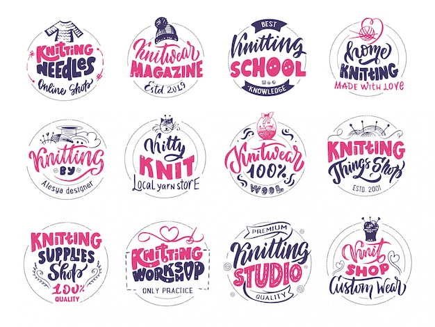 Knitting logo set