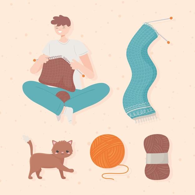 뜨개질 남자와 양모
