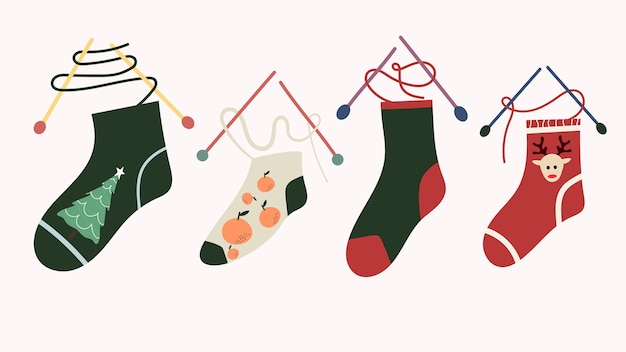 Knitting new year's and christmas socks with different prints