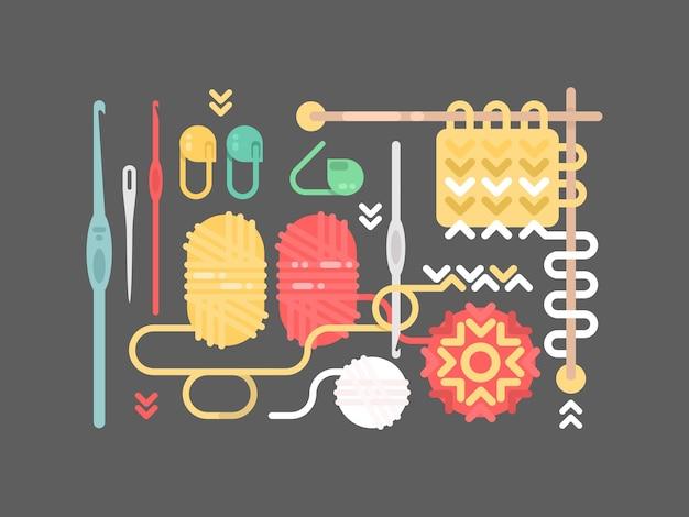 編み物セット。糸、ピン、ボタン針ベクトル図