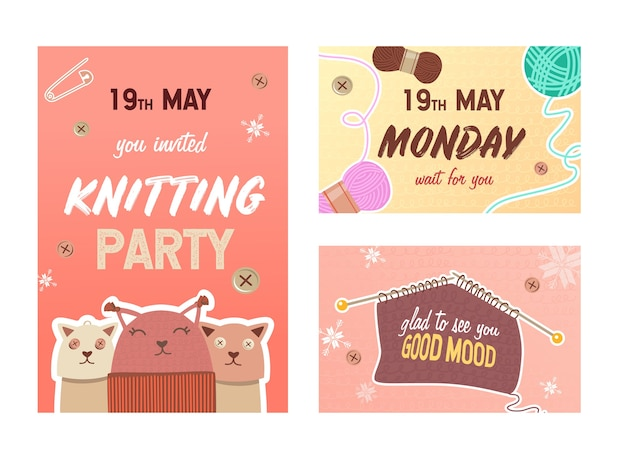 뜨개질 파티 초대장 카드 세트. 핀과 원사, 텍스트, 시간 및 날짜와 함께 니트 장난감 벡터 일러스트. 전단지 및 엽서 디자인을위한 수제 취미 개념
