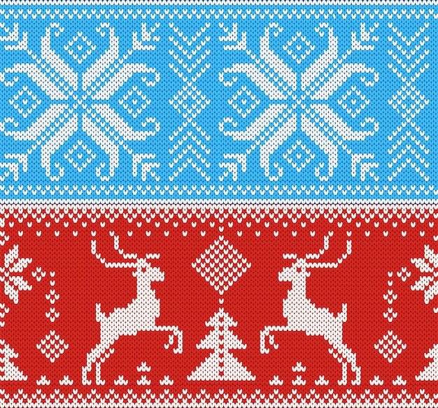 Knitting pattern knit wool texture background traditional knitted winter sweater christmas ornament illustration seamless set of handknitting design of xmas knitwear backdrop