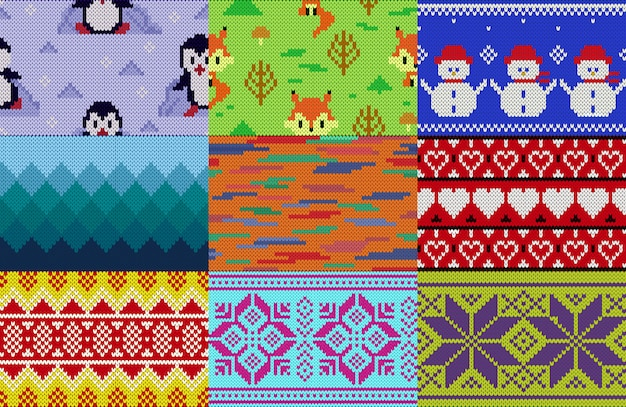 Knitting pattern knit wool texture background traditional knitted winter sweater ornament illustration seamless set of handknitting design of knitwear backdrop