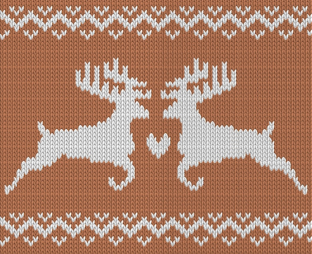 Knitting pattern with two deers and heart