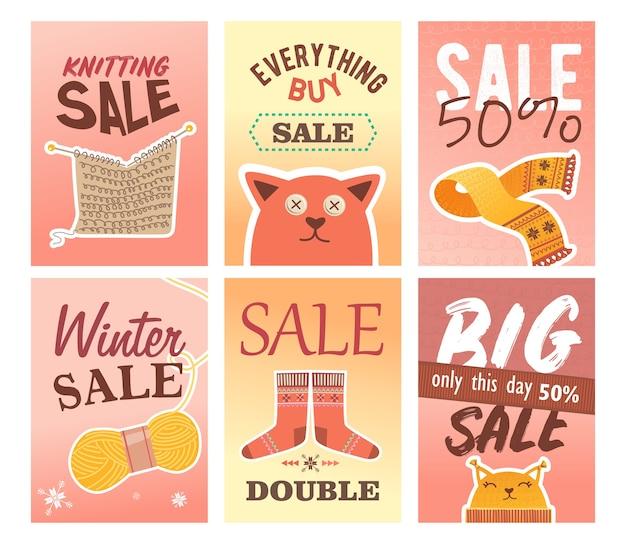 뜨개질 판매 전단지 세트. 핀 및 원사, 니트 의류 및 장난감 벡터 일러스트 텍스트 및 할인 %. 공예품 상점 소매 포스터 및 전단지 디자인을위한 수제 취미 개념