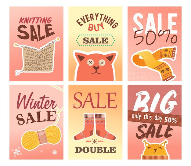 Knitting sale flyers set. pins and yarns, knitted clothes and toys vector illustrations with text and discount percent. handmade hobby concept for craft shop retail posters and leaflets design