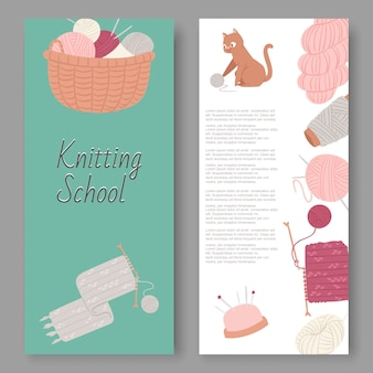 Knitting school and arts and crafts  set banners. wool balls, knitted goods  knitting tools woolen scarf