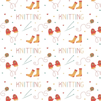 Knitting seamless pattern in doodle style for a yarn shop or tailor vector illustration