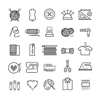 Knitting sewing and needlework line icons