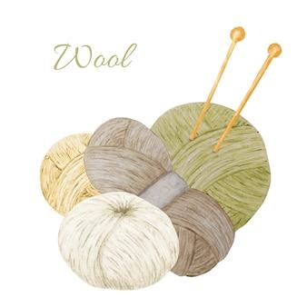 編み物ショップロゴタイプ、ブランディング、アバター-針、糸、ボタンの構成。手作りの水彩イラスト