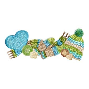 編み物ショップのロゴタイプ、ブランディング、糸のアバター構成、ニットウールの服、