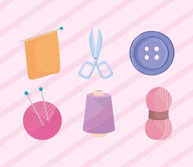 Knitting six icons