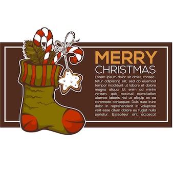 크리스마스 선물, 크리스마스 인사말 카드로 가득한 뜨개질 양말