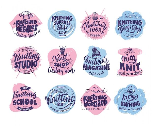 Knitting studio, hand drawn logo, phrases, stamps, emblems set.