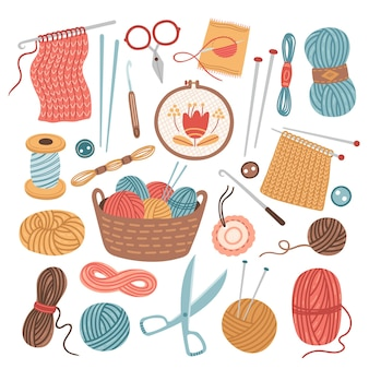 Knitting threads. knit sewing, wool yarn balls. isolated cartoon handicraft accessories, crochet needlework hobby tools vector illustration. sewing and thread, craft knitting, needlework fashion
