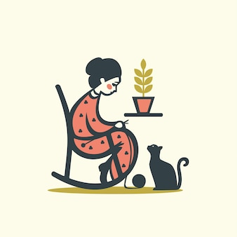 Knitting woman with cat