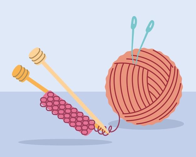 Knitting wool ball and needles