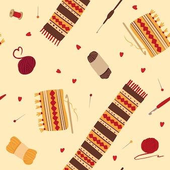 Knitting woolen scarves seamless pattern winter knitwear with folk ornaments handcraft tools
